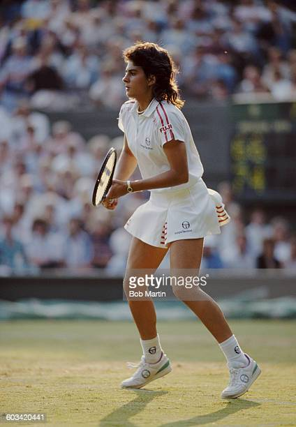 Gabriela Sabatini of Argentina during her Women's Doubles second round match with Steffi Graf at the Wimbledon Lawn Tennis Championship on 22 June...
