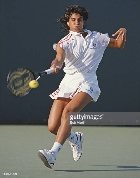 Gabriela Sabatini of Argentina during her Women's Singles first round match at the ATP Lipton Tennis Championship against Helen Kelesi on 14 March...