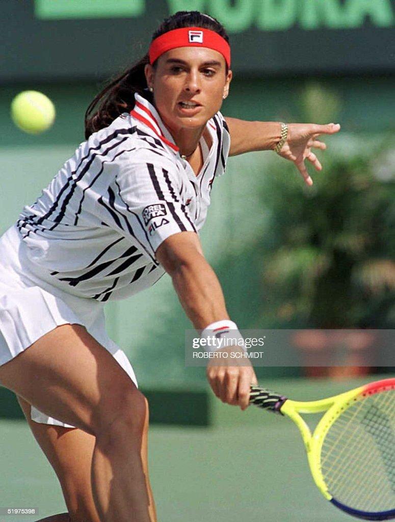 Gabriela Sabatini of Argentina returns a ball duri