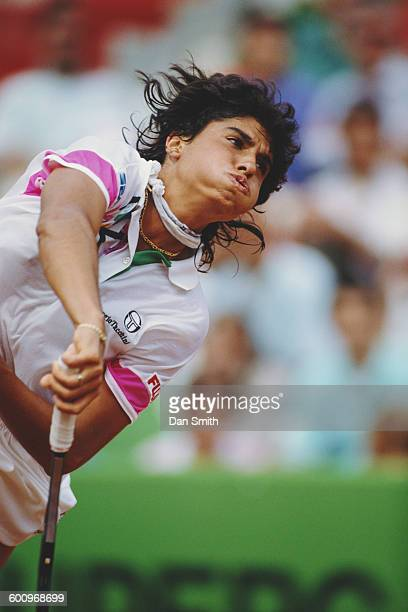 Gabriela Sabatini of Argentina serves to Arantxa Sanchez Vicario during the Women's Singles Final match at the Italian OpenTennis Championship on14...
