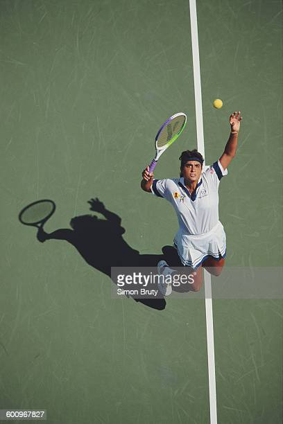 Gabriela Sabatini of Argentina serves to Linda Harvey Wild during their Women's Singles match at the US Open Tennis Championship on 1 September 1992...