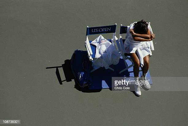 Gabriela Sabatini of Argentina takrs a break between games during the USOpen Tennis Championship on 1st September 1987 at the USTA National Tennis...