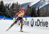 Gabriela Soukalova of Czech Republic competes during the women's 75 kilometer sprint race of the EON IBU Biathlon Worldcup on January 16 2014 in...