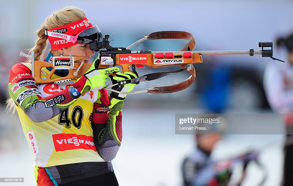 Gabriela Soukalova of Czech Republic shoots during the women's 7.5 kilometer sprint race of the E.ON IBU Biathlon Worldcup on January 16, 2014 in Antholz-Anterselva, Italy.