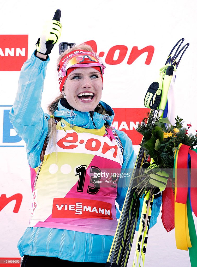 Gabriela Soukalova of the Czech Republic celebrates after victory during the womens individual 15km on day three of the E.On IBU World Cup Biathlon on January 10, 2014 in Ruhpolding, Germany.