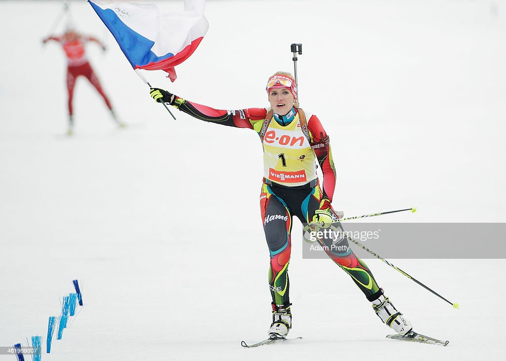 Gabriela Soukalova of the Czech Republic celebrates victory in the womens 10km pursuit on day five of the E.On IBU World Cup Biathlon on January 12, 2014 in Ruhpolding, Germany.