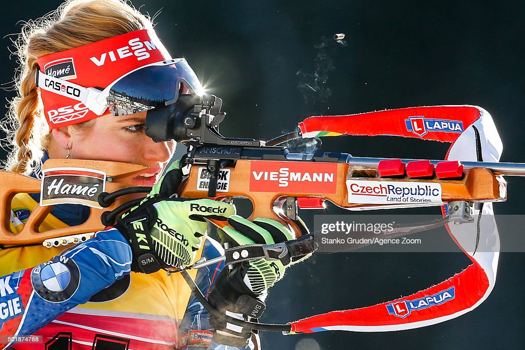 Gabriela Soukalova of the Czech Republic competes during the IBU Biathlon World Cup Women's Sprint on December 18, 2015 in Pokljuka, Slovenia.