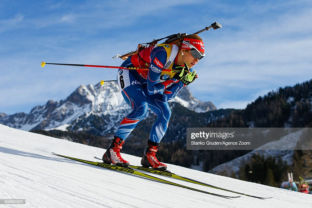 Gabriela Soukalova of the Czech Republic during the IBU Biathlon World Cup Men's and Women's Sprint on December 11, 2015 in Hochfilzen, Austria.