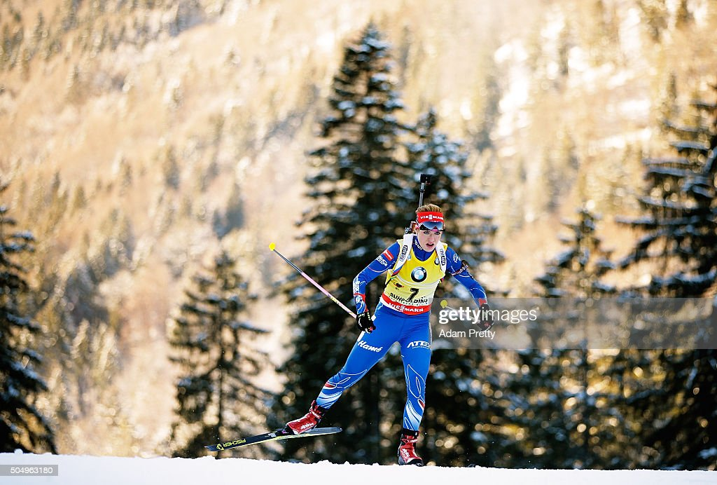 Gabriela Soukalova of the Czech Republic in action during the Women's 15km biathlon race at the IBU Biathlon World Cup Ruhpolding on January 14, 2016 in Ruhpolding, Germany.
