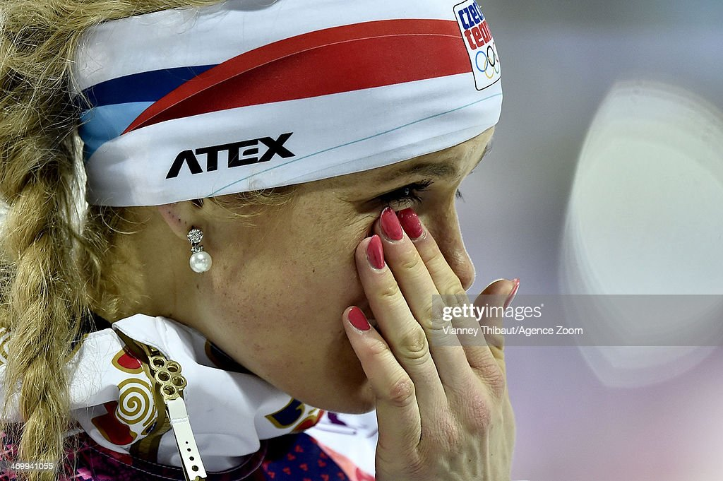 Gabriela Soukalova of the Czech Republic wins silver medal during the Biathlon Women's 125km Mass Start at the Laura Crosscountry Ski Biathlon Center...