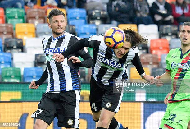 Gabriele Angella of Udinese Calcio cin action during the Serie A match between Udinese Calcio and FC Crotone at Stadio Friuli on December 18 2016 in...
