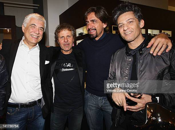 Gabriele Del Torchio Renzo Rosso Valerio Staffelli and Rosario Fiorello attend the 'Diesel Together With Ducati' cocktail party on March 22 2012 in...