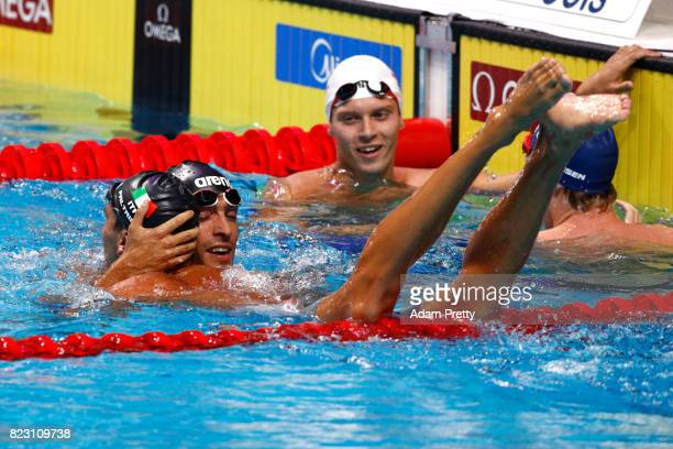 Gabriele Detti of Italy celebrates after winning the gold medal during the Men's 800m Freestyle final on day thirteen of the Budapest 2017 FINA World...