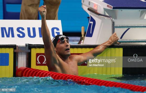 Gabriele Detti of Italy celebrates winning the Men's 800m Freestyle final during day thirteen of the FINA World Championships at the Duna Arena on...