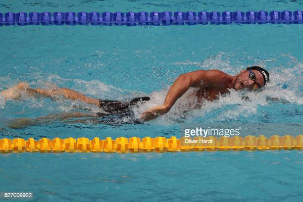 Gabriele Detti of Italy compete in the Men's 1500m freestyle final race during day one of the FINA Airweave Swimming World Cup Berlin 2017 at Europa...