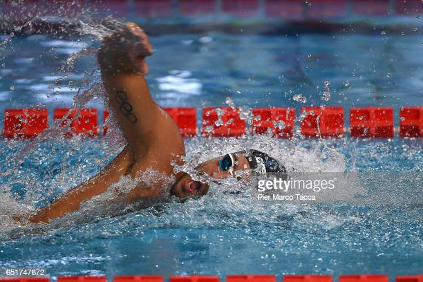 Gabriele Detti of Italy competes in the Men's 400m Freestyle final of 7th Citta di Milano Swimming Trophy on March 10 2017 in Milan Italy