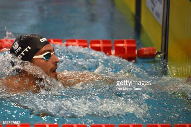 Gabriele Detti of Italy looks at the end of Men's 400m Freestyle final of 7th Citta di Milano Swimming Trophy on March 10 2017 in Milan Italy