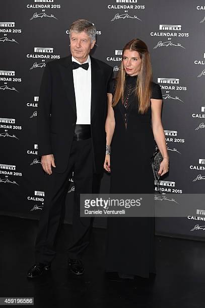 Gabriele Galateri di Genola and Virginia Galateri di Genola attend the 2015 Pirelli Calendar Red Carpet on November 18 2014 in Milan Italy