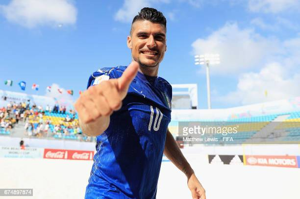 Gabriele Gori of Italy celebrates his teams win over Iran after the FIFA Beach Soccer World Cup Bahamas 2017 group B match between Italy and Iran at...