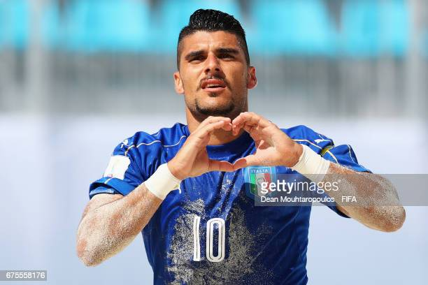 Gabriele Gori of Italy celebrates scoring a goal during the FIFA Beach Soccer World Cup Bahamas 2017 group B match between Italy and Mexico at...
