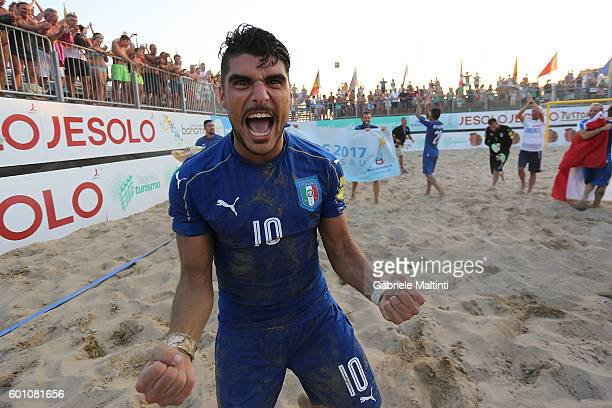 Gabriele Gori of Italy celebrates the victory after during the FIFA Beach Soccer World Cup 2017 Qualifier between Italy and Hungary on September 9...
