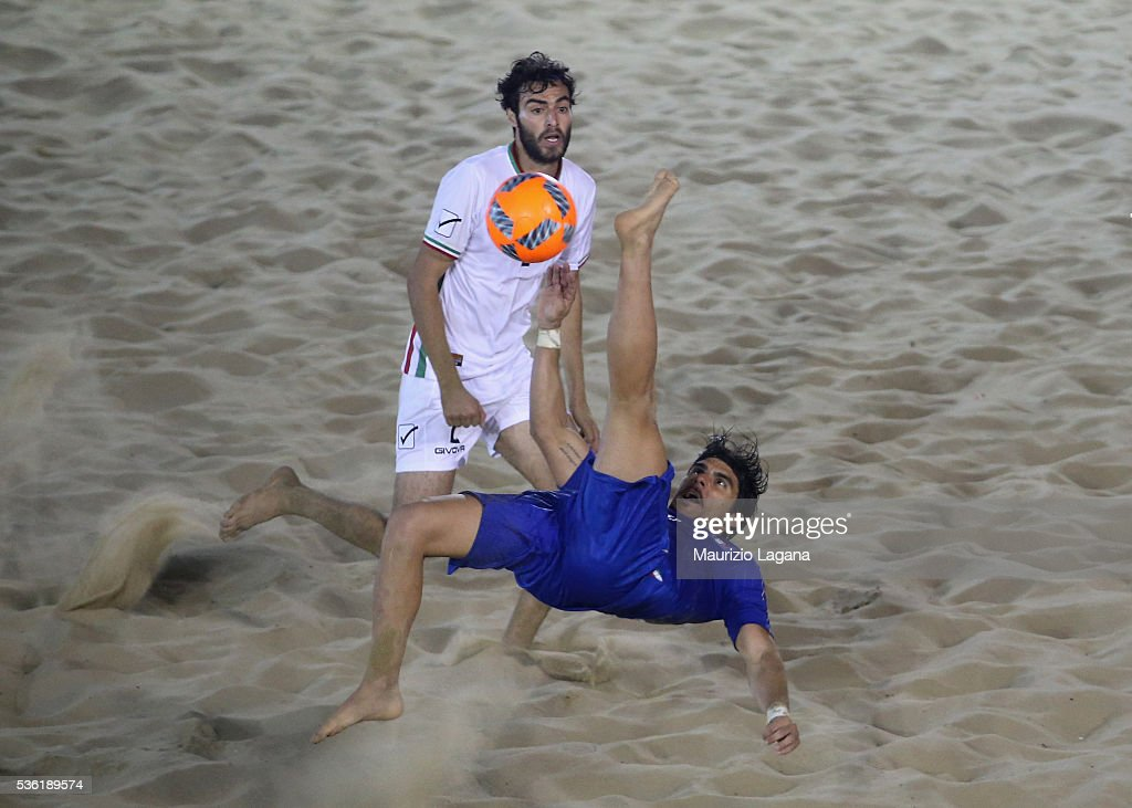 Gabriele Gori of Italy during the beach soccer international frienldy between Italy and Iran on May 31, 2016 in Catania, Italy.