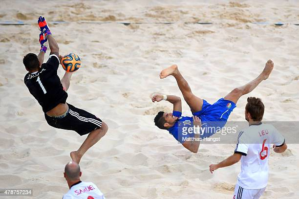 Gabriele Gori of Italy has his shot on goal saved by Nico Stalder of Switzerland in the Men's semi final match during day fifteen of the Baku 2015...