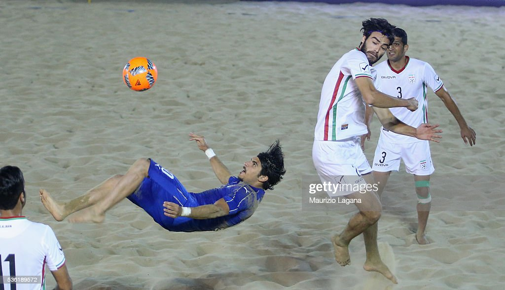 Gabriele Gori of Italy in action during the beach soccer international frienldy between Italy and Iran on May 31, 2016 in Catania, Italy.