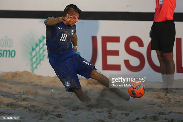 Gabriele Gori of Italy in action during the FIFA Beach Soccer World Cup 2017 Qualifier between Italy and Hungary on September 9 2016 in Jesolo Italy
