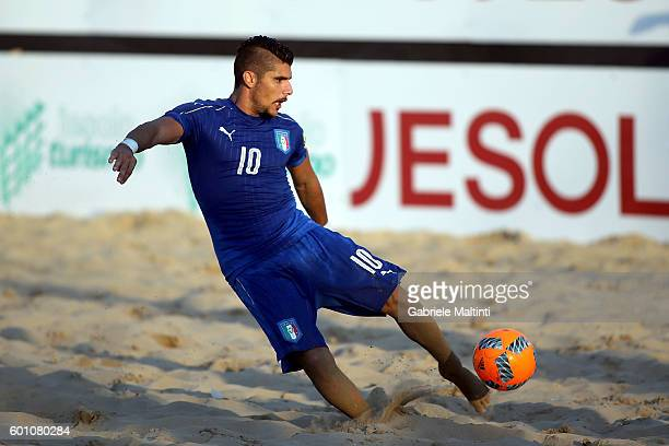 Gabriele Gori of Italy scores a goal during the FIFA Beach Soccer World Cup 2017 Qualifier between Italy and Hungary on September 9 2016 in Jesolo...