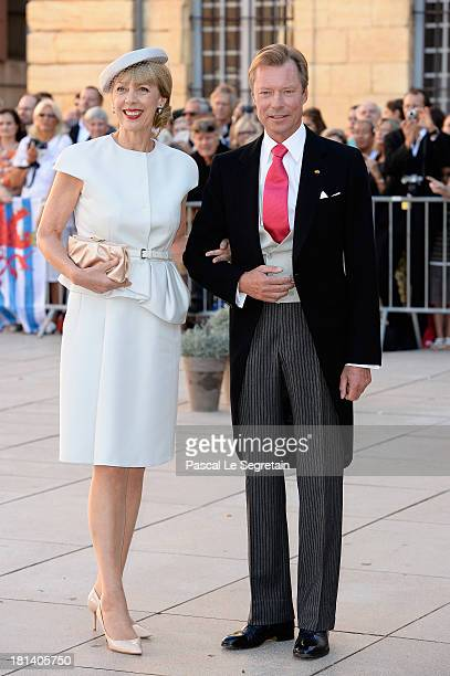 Gabriele Lademacher and Grand Duke Henri attend the Religious Wedding Of Prince Felix Of Luxembourg Claire Lademacher at the Basilique Sainte...