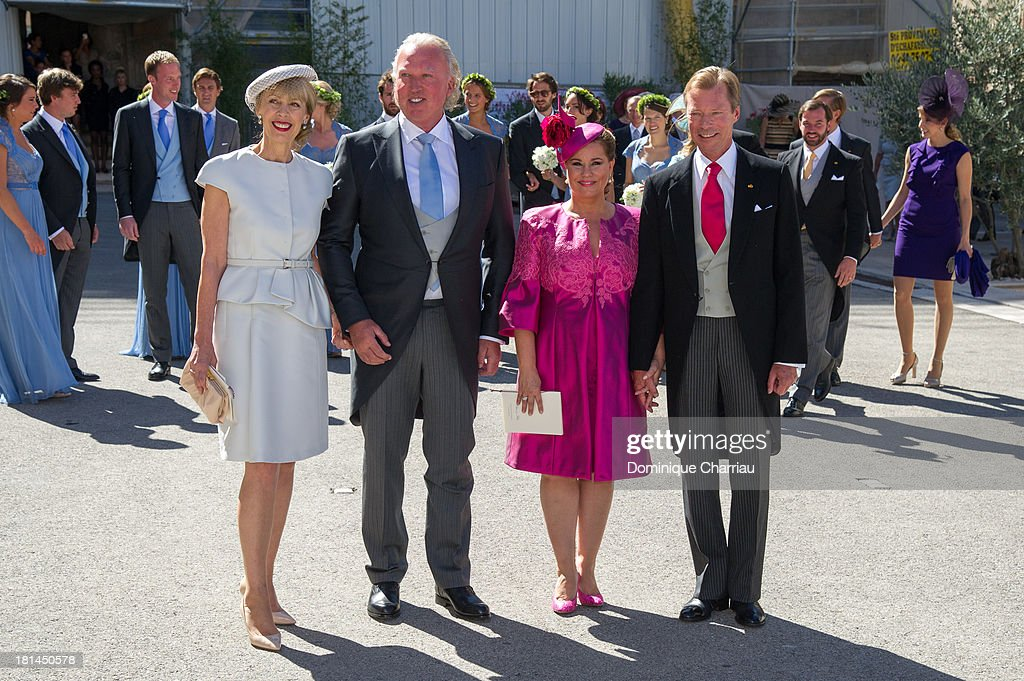 Gabriele Lademacher, Hartmut Lademacher, Grand Duchess Maria Teresa and Grand Duke Henri depart from the Religious Wedding Of Prince Felix Of Luxembourg and Claire Lademacher at Basilique Sainte Marie-Madeleine on September 21, 2013 in Saint-Maximin-La-Sainte-Baume, France.