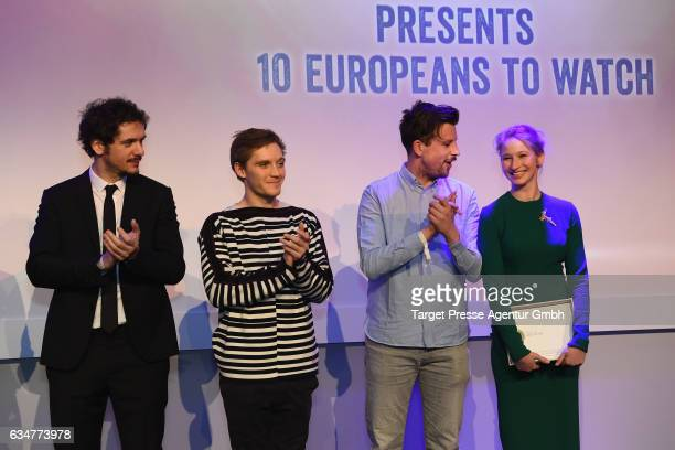 Gabriele Mainetti Jonas Nay Robin Pront and Reka Tenki attend the Medienboard BerlinBrandenburg Reception during the 67th Berlinale International...