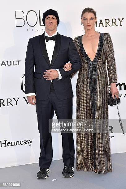 Gabriele Moratti and Angela Lindvall attends the amfAR's 23rd Cinema Against AIDS Gala Dinner at the annual 69th Cannes Film Festival at Hotel du...