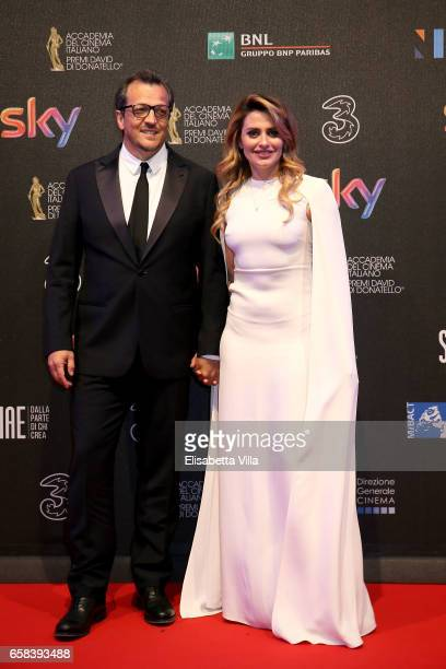 Gabriele Muccino and Angelica Russo walk the red carpet of the 61 David Di Donatello on March 27 2017 in Rome Italy