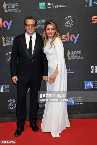 Gabriele Muccino and Angelica Russo walks the red carpet of the 61 David Di Donatello on March 27 2017 in Rome Italy