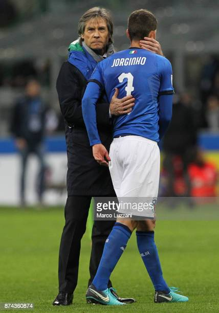 Gabriele Oriali of Italy embraces Jorge Luiz Frello Jorginho at the end of the FIFA 2018 World Cup Qualifier PlayOff Second Leg between Italy and...