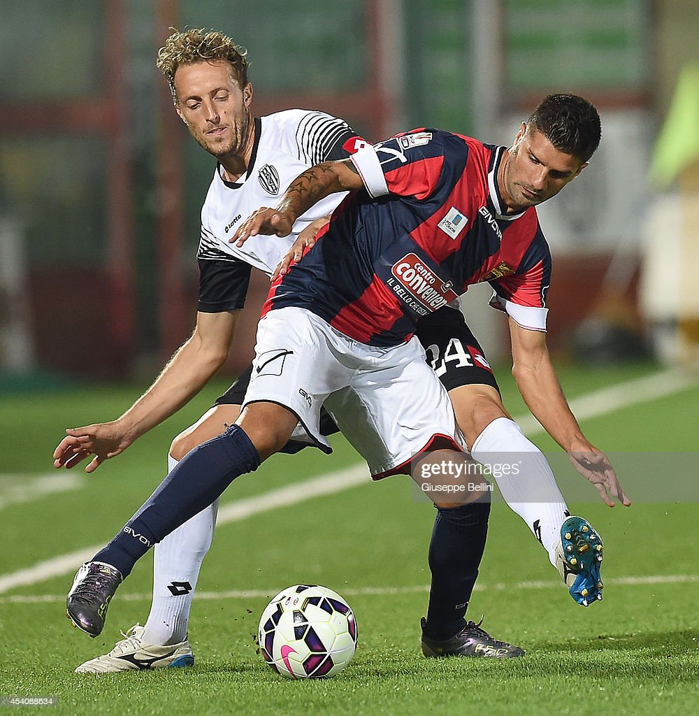 Gabriele Perico of Cesena and Nicola Mancino of Casertana in action during the TIM Cup match between AC Cesena and Casertana at Dino Manuzzi Stadium on August 24, 2014 in Cesena, Italy.