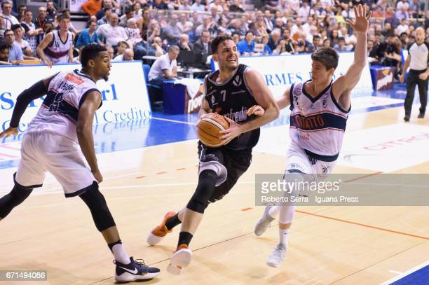 Gabriele Spizzichini of Segafredo competes with Alex Legion and Leonardo Candi of Kontatto during the LegaBasket LNP of serie A2 match between...