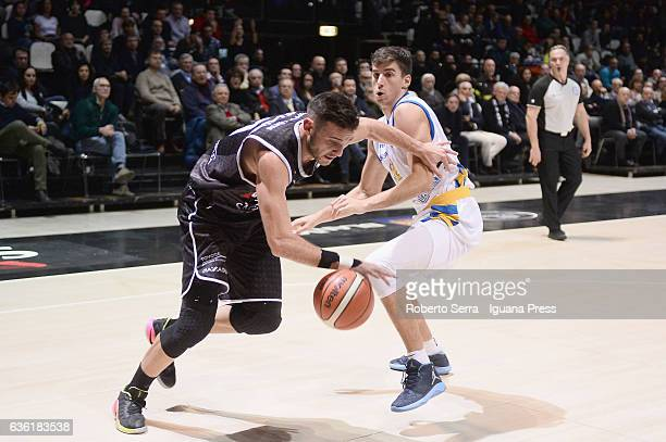 Gabriele Spizzichini of Segafredo competes with Nicolo Basile of Tezenis during the match of LNP LegaBasket Serie A2 between Virtus Segafredo Bologna...