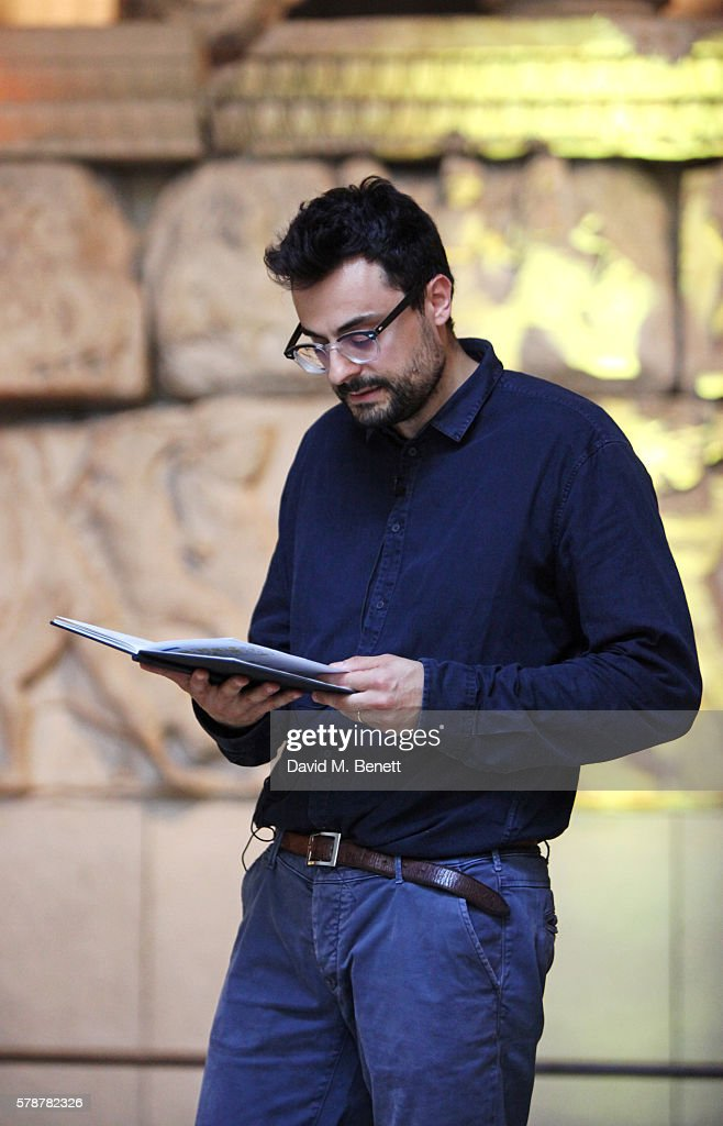 Gabriele Tinti reads from his poem 'Poets, Warriors' at The British Museum on July 22, 2016 in London, England.