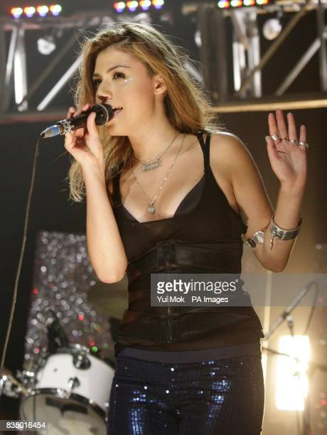 Gabriella Cilmi performing on stage during the Brit Awards shortlist announcement at the Roundhouse in London