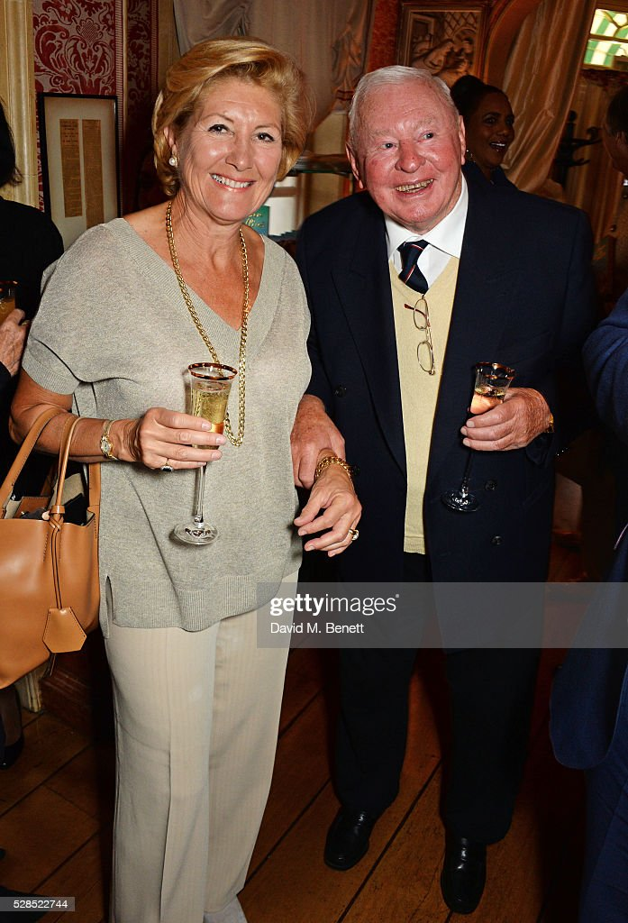 Gabriella di Nora (L) and Donald Gosling attend the launch of Dame Joan Collins' new book 'The St. Tropez Lonely Hearts Club' at Harry's Bar on May 5, 2016 in London, England.