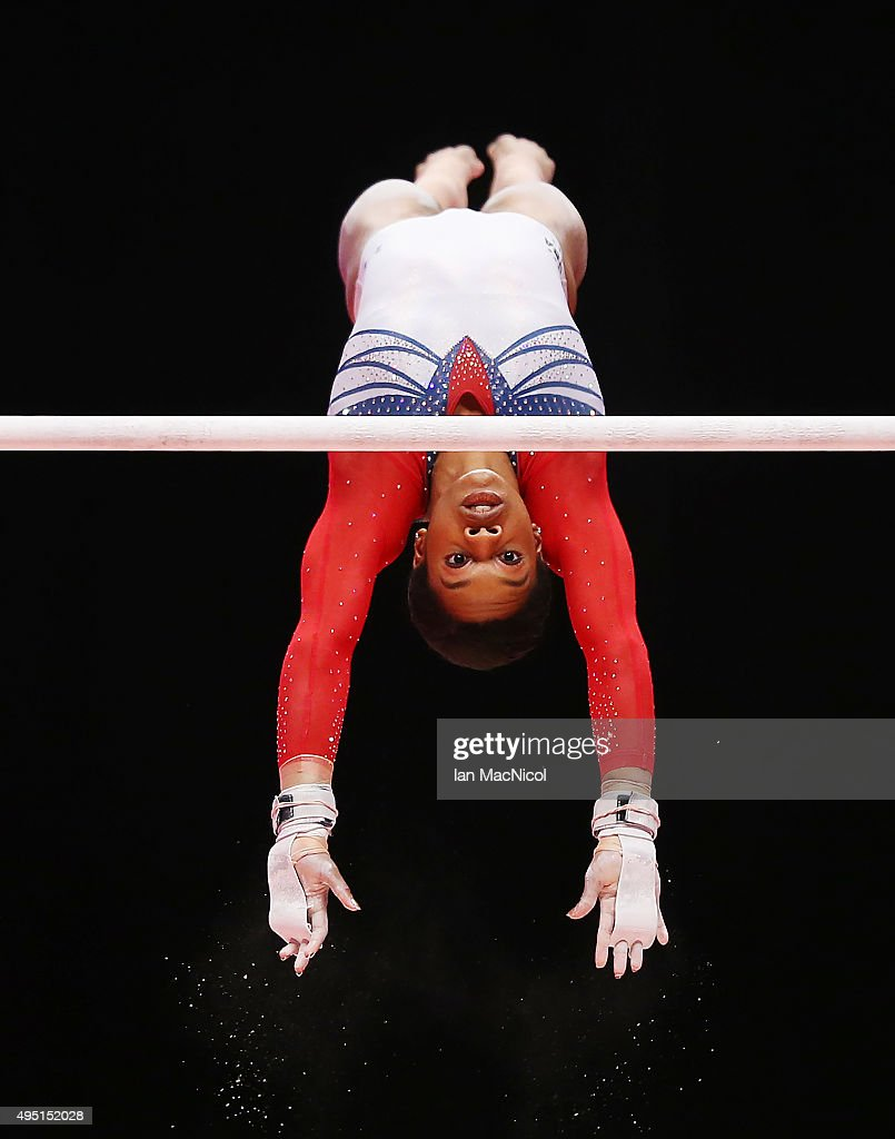 Gabriella Douglas of United States competes on the Uneven Bars during day nine of World Artistic Gymnastics Championships at The SSE Hydro on October 31, 2015 in Glasgow, Scotland.