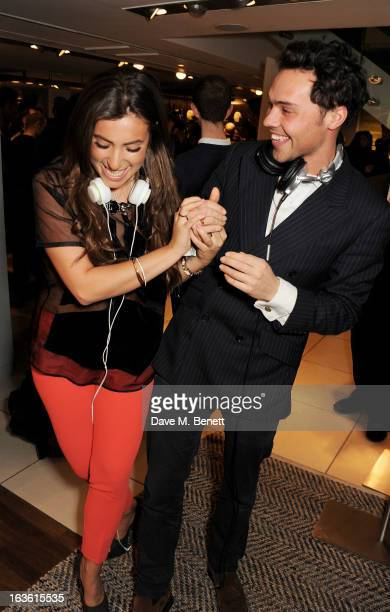 Gabriella Ellis and Andy Jordan attend the Panasonic Technics 'Shop To The Beat' Party hosted by George Lamb at French Connection Oxford Circus on...