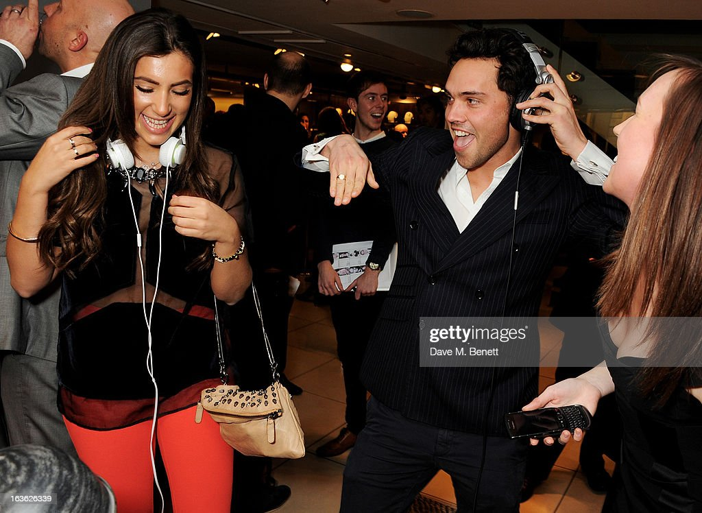 Gabriella Ellis (L) and Andy Jordan attend the Panasonic Technics 'Shop To The Beat' Party hosted by George Lamb at French Connection, Oxford Circus, on March 13, 2013 in London, England.