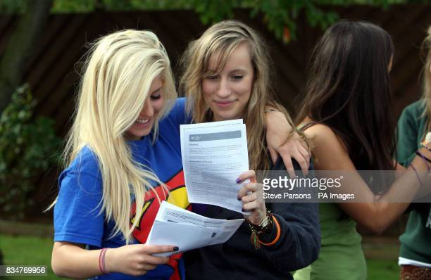 Gabriella Leefe and Katy Smith celebrate their GCSE results after studying at The Lady Eleanor Holles School in Hampton Middlesex