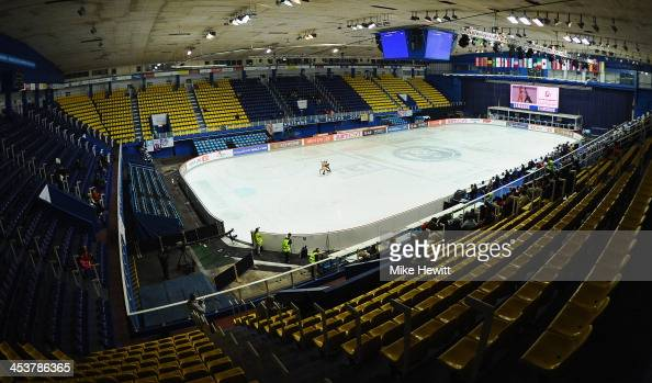 Gabriella Papadakis and Guillame Cizeron of France in action in a deserted arena during Day One of the ISU 46th Golden Spin of Zagreb at the Dom...
