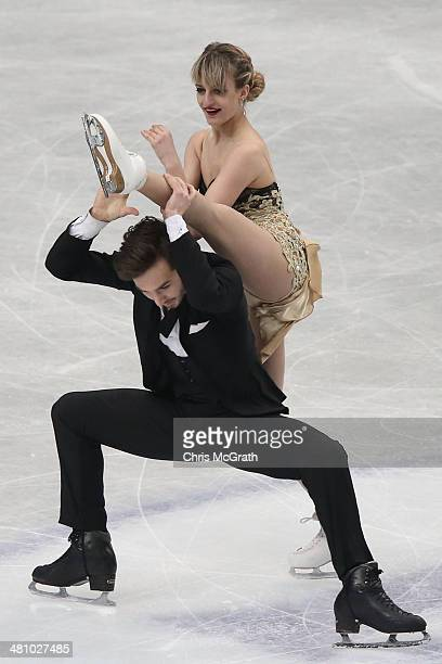 Gabriella Papadakis and Guillaume Cizeron of France compete in the Ice Dance Short Dance during ISU World Figure Skating Championships at Saitama...
