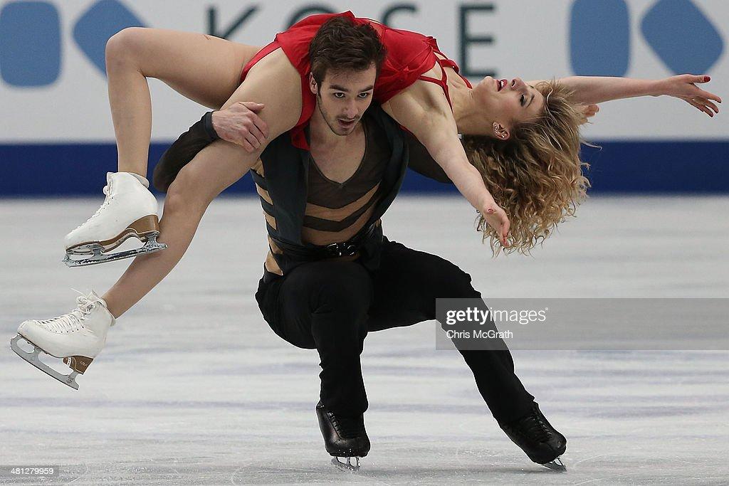 Gabriella Papadakis and Guillaume Cizeron of France compete in the Ice Dance Free Dance during ISU World Figure Skating Championships at Saitama Super Arena on March 29, 2014 in Saitama, Japan.